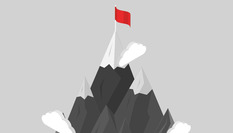 目的を示す山頂のゴール