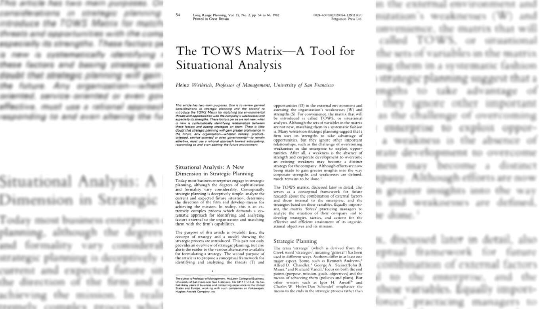 ハインツ・ワイリック教授の論文「The TOWS Matrix」