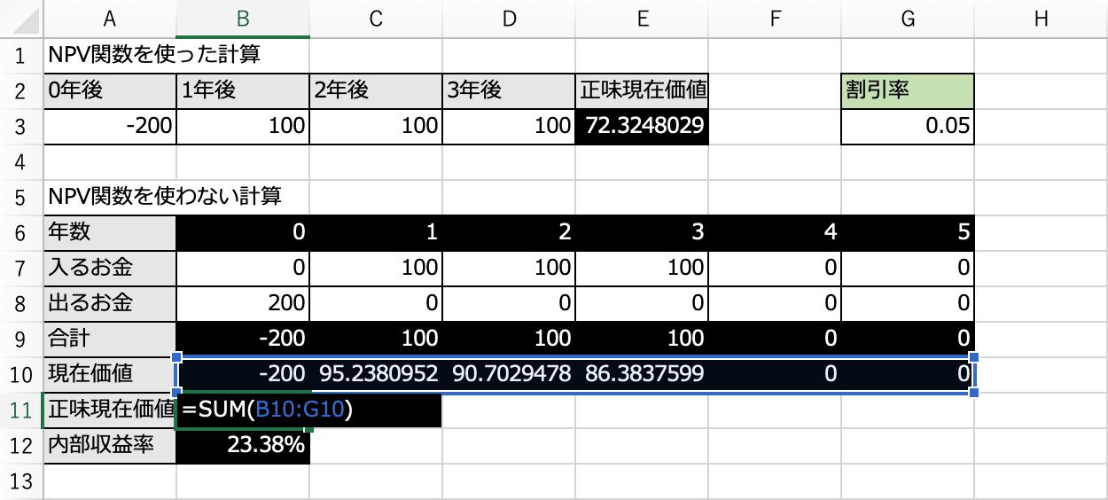 エクセルで現在価値を合算