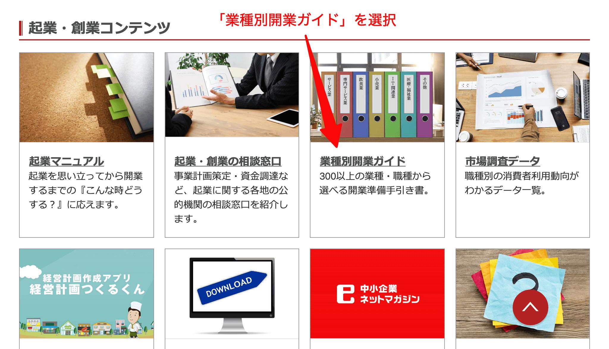 J-Net21 業種別開業ガイド